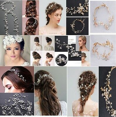 Wedding Pearl Hair Crystal Hairband Flower Handmade Bridal Accessories Headpiece
