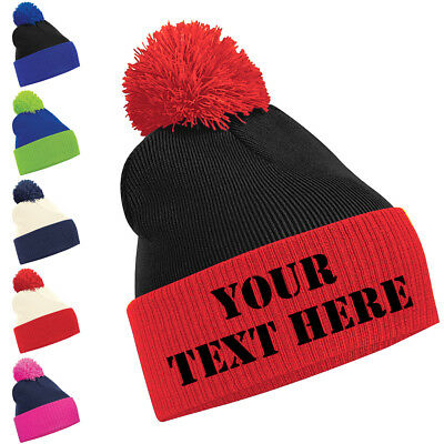 Personalised Two Tone Pom Pom Beanie Bobble Hat With Name Slogan Personalised