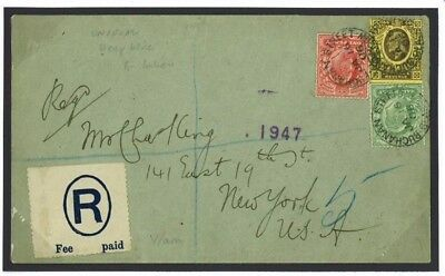 K183 Great Britain Cover 1906 GB Late Deep Blue R Label Buchanan St Glasgow/USA