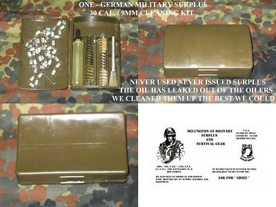 German Military Surplus 30 Cal. / 9Mm Cleaning Kit - New Old Stock - Empty Oiler