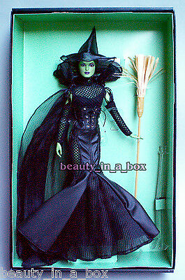 Wicked Witch of the West Barbie Collector Doll Wizard of Oz Fantasy Glamour Gold
