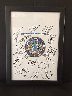 Macclesfield Town NEW 2017/18 Hand Signed Framed A4 Autograph Sheet