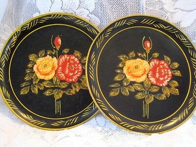 2 Vintage 1940s Painted Red Yellow Roses Occupied Japan Paper Mache Tole Trays