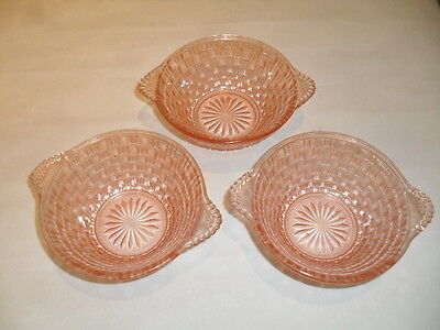 Three Small Attractive Vintage Pink Glass Dishes