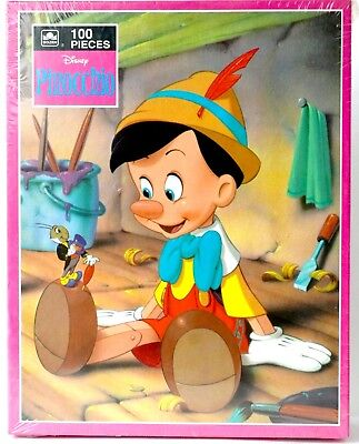 "Vintage Disney Pinocchio & Jiminy Cricket 100 piece 12"" x 15""  puzzle Golden NEW"