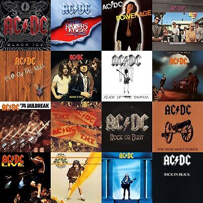 AC/DC Discography 12x12 Borderless Album Cover Collage Print Poster