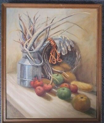 FRAMED OIL ON CANVAS PAINTING signed C.DILWORTH A STILL LIFE STUDY KITCHEN TABLE