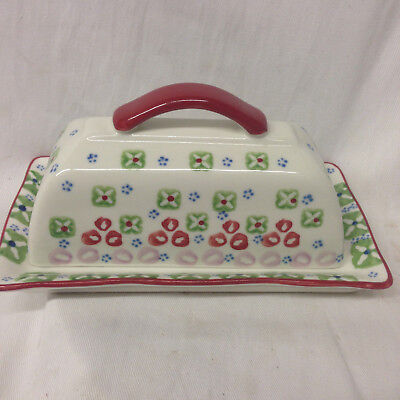 Signature Stoneware Gypsy Covered Butter Dish Geometric Flowers Circles & Dots