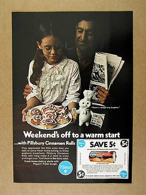 1970 Pillsbury Cinnamon Rolls Doughboy Daughter Father photo vintage print Ad