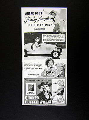 1937 Shirley Temple toy car photo Quaker Puffed Wheat Cereal vintage print Ad