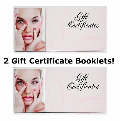 Tearable Blank Gift Certificate Book Spa Hair Nail Beauty Salon 50ct/Booklet 2ct