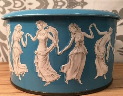 Enamel Vintage Antique DAHER England Dancing Maidens Tin Blue White  5.5 x 3#317
