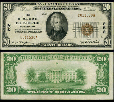 Pittsburgh PA $20 1929 Ty 1 National Bank Note Ch #252 First NB Very Fine+
