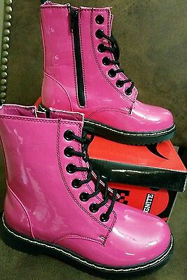 GIA MIA IGNITE HOT PINK COMBAT BOOTs rubber new girls youth size 4 rain