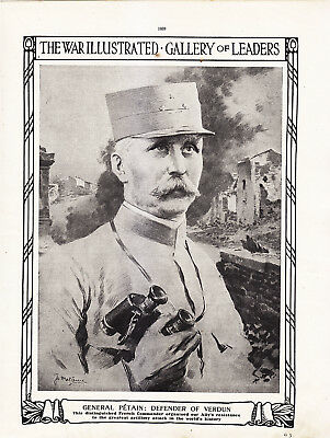 World War 1, General Petain, Defender of Verdun, 2 Pages