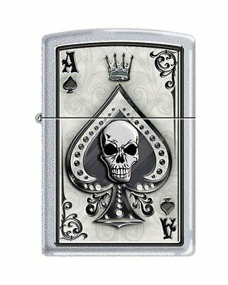 Zippo 4858, Ace of Spades-Skull, Satin Chrome Finish Lighter, Full Size