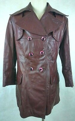 Vintage Etienne Aigner Leather Coat Size 16 Oxblood Red Double Breasted 1970s
