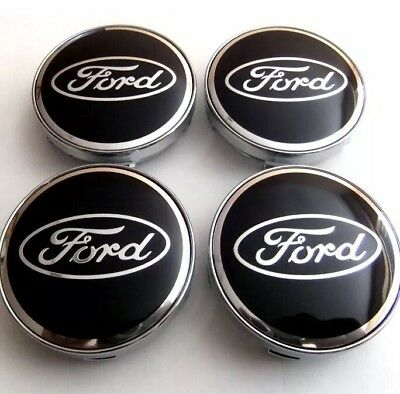 Set Of 4 BLACK FORD FITS MOST NEW MODELS 60MM ALLOY WHEEL CENTRE CAPS