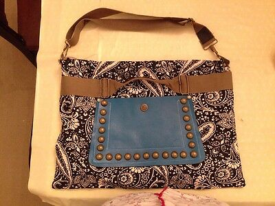 FOCUS BABY BAG SATCHEL - Paisley Black White Blue Changing / Nappy Bag