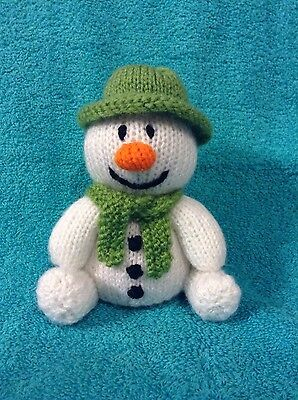 KNITTING PATTERN The snowman with green hat chocolate orange cover or 15 cms toy