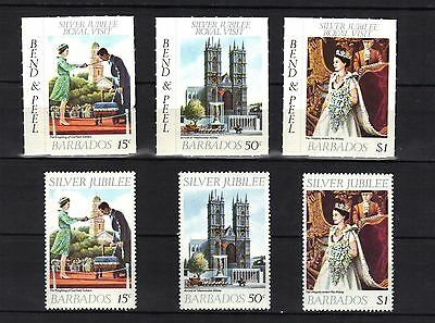 Barbados. Silver Jubilee Ordinary And Self Adheasive 1977 Mnh