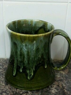 Gorgeous Youghal Pottery Ireland Hand Made Tankard Olive Green Treacle Glaze
