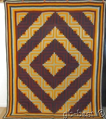 SHOWSTOPPING c1870s Log Cabin Antique Quilt 7 BORDERS cheddar brown Lancaster PA