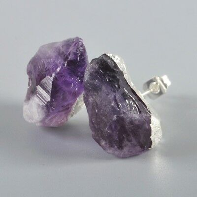 Freeform Rough Natural Amethyst Stud Earrings Silver Plated T045484