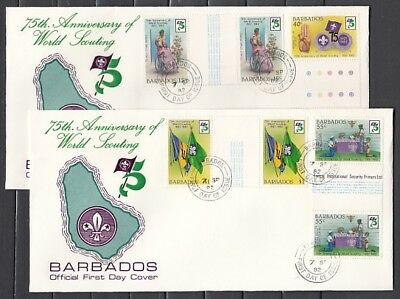 Barbados, Scott cat. 589-592. 75th Scout Anniversary. Gutters, First day covers.