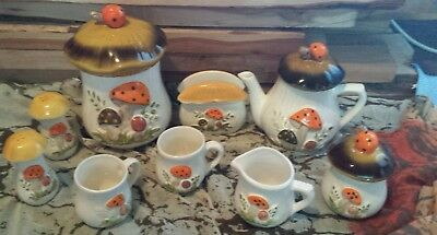 Retro 12 Piece Sears Roebuck and Co. Merry Mushroom Canister and Tea Set 1970's