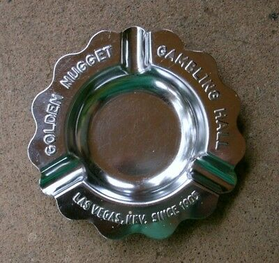 "Vintage Metal GOLDEN NUGGET GAMBLING HALL Ashtray, 4""-4.5"" Diameter"