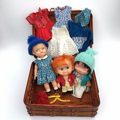 Vintage 1950s 60s Rubber Plastic Dolls and Clothes in Wicker Trunk Made in Japan
