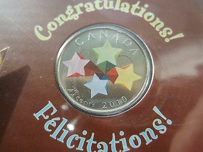 "2010 Canada 25 Cent ""congratulations-Stars"" Coloured Quarter -New/sealed"