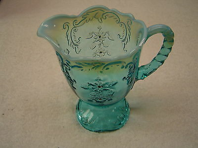 Northwood Glass Blue Opalescent INTAGLIO Pitcher