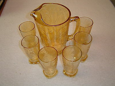 Jeannette Glass Floragold Pitcher and six Tumblers