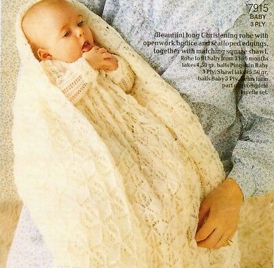 Vintage Baby Knitting Pattern Copy Christening Gown ~  lacey design in 3 Ply