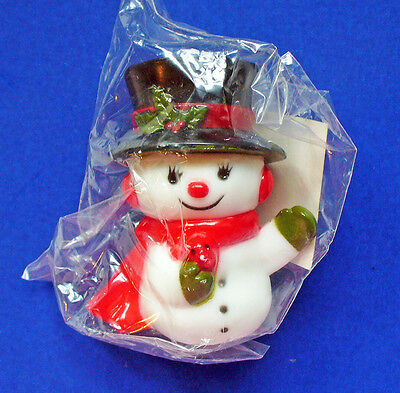 Hallmark MERRY MINIATURES Christmas MIP SNOWMAN 1974 WAVING w BIRD Vtg Figurine