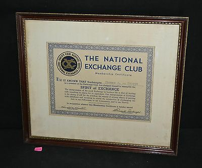 ThriftCHI ~ Framed The National Exchange Club Membership Certificate