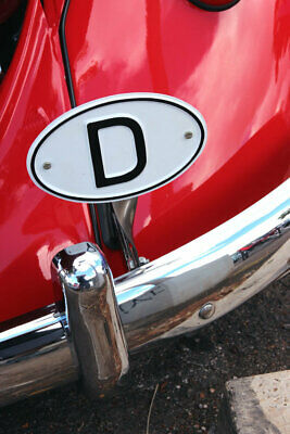 """VW TYPE 1 BUG """" D """" DEUTSCHLAND COUNTRY OF ORIGN LICENSE PLATE TAG w/BRACKET"""
