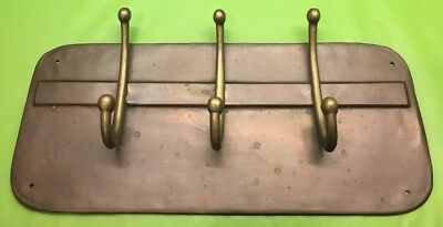 Vintage Solid Brass Hat Coat Hooks On The Copper Finish Back Plate Rare 1920's