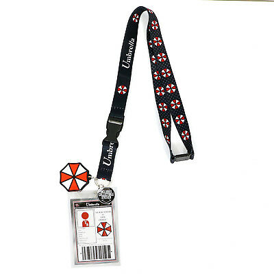 Authentic RESIDENT EVIL Umbrella Logo Rubber Charm Allover Printed Lanyard NEW