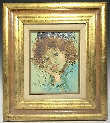 Signed Vintage Modern Portrait of a Lady Oil on Canvas Painting by Kgastarin