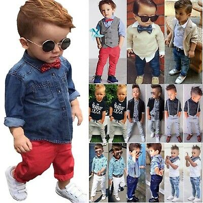 Baby Kids Boys Shirts Tops + Denim Pants Formal Dress Outfit Set Gentleman 1-8 Y