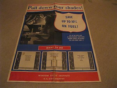 "Military ""Hey Pull Down Your Shade!"" Poster 28 1/2 by 20 Inches WWII"