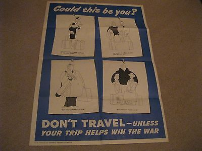 """Don't Travel Unless Your Trip Helps Win the War"" golfing image Poster WWII"
