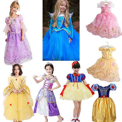 Girls Kids Cinderella Snow White Sofia Fancy Dress Princess Costume Cosplay