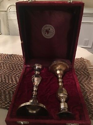 VINTAGE Silverplated candlesticks set of 2 ALEF JUDAICA by GLORIAS GIFTS
