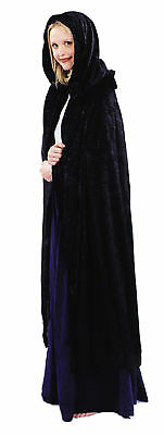 Renaissance Cape Black Adult Costume With Hood And Shoulder Ruffle Fancy Dress