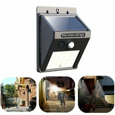 20 Led Solar Powered Motion Sensor Door Fence Wall Light Outdoor Garden Lamp Uk