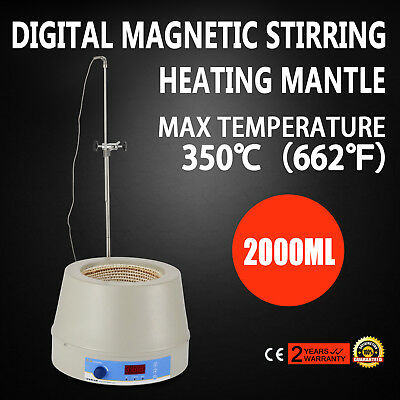 2000ml Electric Digital LCD Magnetic Stirring Heating Mantle No Open Flame 110V
